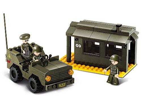 Funstones - Baustein Set Army Armee Kontrolle Vorposten + Auto Fahrzeug + Soldaten Bausteine Bausatz Set