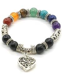 10 MM de Cuentas de Yoga de Equilibrio de Reiki Curación Pulsera 7 Chakra Plata de Color Antiguo Corazón Hueco de Pulsera