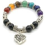 10 MM Beads Yoga bilanciamento braccialetto cuore 7 Chakra argento antico colore Hollow Reiki Bracciale guarigione