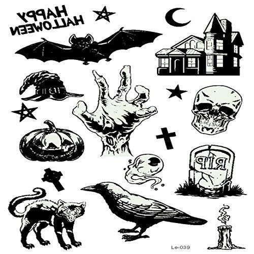 Adgkitb 3 Piezas Halloween Tatuaje Temporal Luminoso