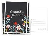 10 Einladungskarten - Kommt feiern! - Schwarz mit bunten Blumen, geschmackvolle Einladung zu Hochzeit, Geburtstag und Jubiläum auf hochwertigem Recyclingpapier