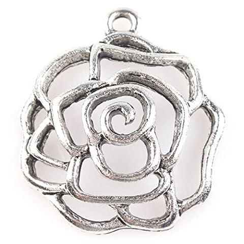 26x23.5x6mm 20x Antique Argent Évidement Fleur- Pendantif/Connecteur Alliage - Charms Perles pour Breloque Bracelets Collier Bijoux Accsessories