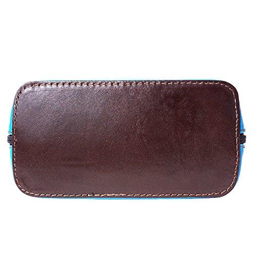 Mini Umhängetasche Dalida für Damen aus poliertem Leder Handtasche klein aus Italien Ledertasche Abendtasche Partytasche Freizeittasche Himmlisch/Dunkelbraun