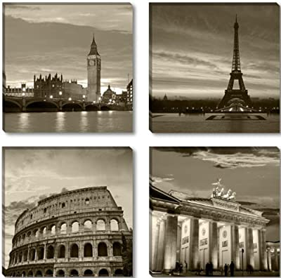 Visario 6604 Canvas Picture Canvas Wall Art Pictures Cities Berlin London Paris Rome, 4 x 30 x 30 cm Four Pieces