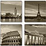 Visario 6604 - Fotografía sobre lienzo (4 piezas, 4 x 30 x 30 cm), diseño de Londres, París, Roma y Berlín