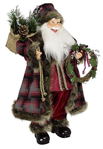 Weihnachtsmann Santa Nikolaus Bram mit schönem Gesicht und vielen Details / Größe ca.60cm / kariert-gemusterter Fellmantel, karierte Fellmütze, rote Hose, schwarze Stiefel - Trendyshop365