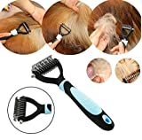 #7: CGT Pet Hair Comb Device Deshedding Tool That Acts As an Tool and Helps in Grooming Your Pet's Hair and Also Makes It Smooth Dog Trimmer -Stainless Steel (Blue)