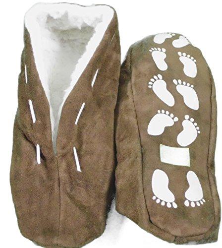Echtleder / Veloursleder Hausschuhe mit Fell Innenfutter Mokassins Pantoffeln ABS-Stopper ab Gr: 35 (sch44) 39 braun (Damen Mokassin Hausschuhe)