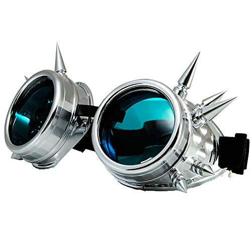 WELDING CYBER GOGGLES Schutzbrille Schweißen Goth cosplay STEAMPUNK COSPLAY GOTH ANTIQUE VICTORIAN WITH SPIKES Includes FREE set Lense Shades UV400 Protection Morefaz(TM) (Silber Spikes)