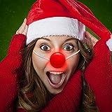 shoperama Blinkende Clownsnase am Gummiband Horror Killer Clown Nase Rot Rudolph Karneval Weihnachten Kostümzubehör Verkleidung
