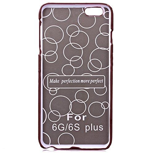 Etsue Housse Etui pour iPhone 6S Plus,Floral Série Solide Couleur Protecteur Hard Shell Case Coque pour iPhone 6 Plus,Cartes Slots Retour Housse avec Kickstand pour iPhone 6 Plus/6S Plus 5.5 pouces 1x Brun