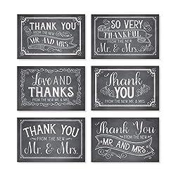 Dankeskarten für Hochzeit, rustikal, mit Umschlägen, elegante Brautdusche, Dankeschön-Note aus dem neuen Mr. & Mrs. Newlywed Retro schwarze Kreide Gratitude Supplies, 4 x 15 cm