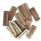 B Blesiya 100x Handmade Labels Etiketten Tags Holz Annäher Labels Hand Nähen Knopf DIY Basteln für Kleidung Tasche Näharbeit Deko