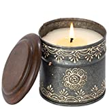 Bougies de l'Himalaya Tournesol Moonlight Bougie Boîte métal Peint à la Main, Taille S