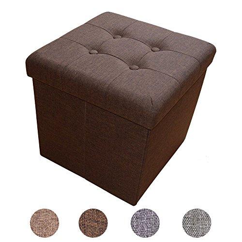 Style home Sitzhocker Sitzbank Sitzcube Aufbewahrungsbox mit Stauraum Faltbarer Fußhocker Sitzwürfel belastbar bis 300 kg, aus Leinen, 38 x 38 x 38 cm (Dunkelbraun)