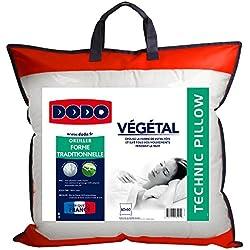 Dodo Vegetal Oreiller Uni Ergonomique - Mousse à mémoire de forme - Blanc - 60 x 60 cm