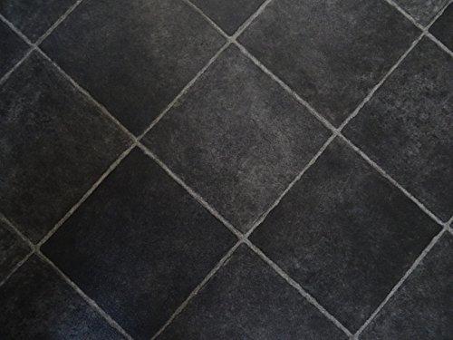 PVC schwarze, diagonale Fliesen, schwarz - von Alpha-Tex 9.95€/m² (kleines Musterstück)