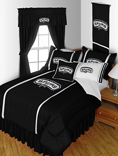 San Antonio Spurs QUEEN Size 14 Pc Bedding Set (Comforter, Sheet Set, 2 Pillow Cases, 2 Shams, Bedskirt, Valance/Drape Set (84-Inch Drape Length) & Matching Wall Hanging) - SAVE BIG ON BUNDLING! by Sports Coverage -