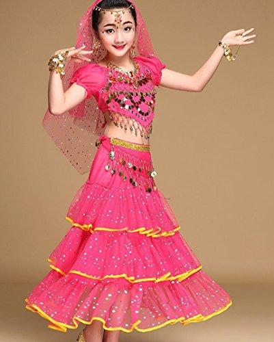 Frauen Indien Kostüm - Kinder Bauchtanz Kostüm Frauen Tanz Kostüm Set Indiens Tanz Anzug Wettbewerb Kostüm gelb/rot/Rose, l, Rose red
