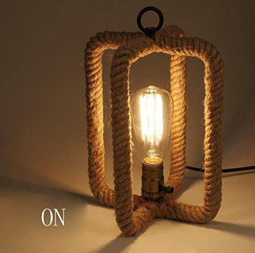WENWEN Tessuti a mano corda rattan lampada da tavolo lampada