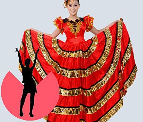 ZYLL Bauchtanz große Röcke, Stierkampf Tanz Rock Big Swing Rock Kostüm Kostüm spanischen Stierkampf Tanz RockFlamenco-Rock, Damen Bauch Tanzen Chiffon Rock Groß Swing Rock Kostüm,540°,S - Chiffon-bauch-tanzen