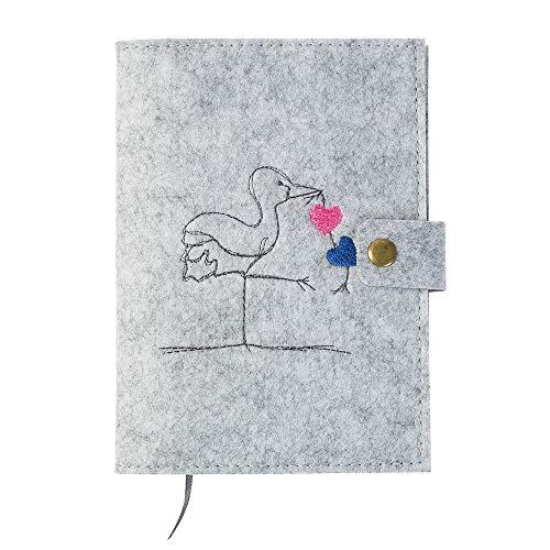 Mutterpasshülle 'Storch' aus Filz, hellgrau (Farbe wählbar) Design Hülle für deutschen Mutterpass mit Druckknopfverschluss