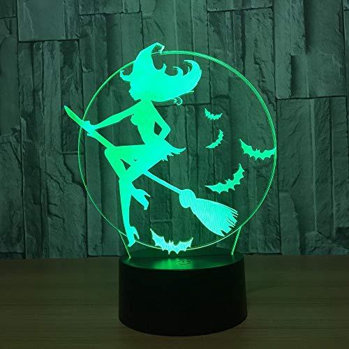 ZNNYE 3D Nachtlichter Kinder Halloween Fledermaus Hexe Led Licht Acryl 7 Farbwechsel Led Nachtlichter Schlafzimmerleuchten Wohnzimmerleuchten Dekoration Touch Usb