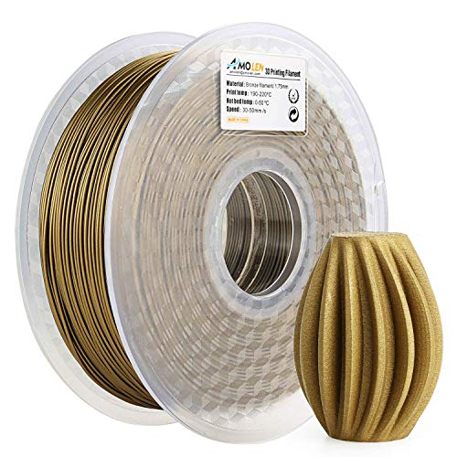 Amolen stampante 3d filamento pla 1.75mm, bronzo satinato 1kg,+/- 0.03mm materiali filamenti per stampanti 3d, include campione marmo filamento.