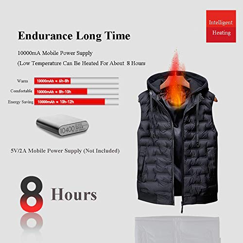 51eMC6gVOkL. SS500  - DZX Men's Electric Warm Gilet/Heating Vest,with USB Cable - For Outdoor Travel Work Camping Bike And Skiing,Black-2XL