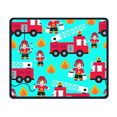 Cartoon Fireman Fire Truck Office Office and Gaming Mouse Pad Premium Waterproof Mouse Mat 22 * 18CM(8.7 * 7.1 Inch) (Pink Fire Truck)