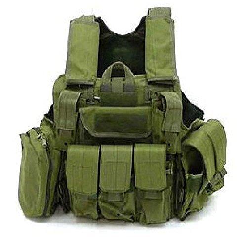 Militär Armee Schwer Pflicht MOLLE Kampf Weste / Schulung Schutz Geborgenheit Weste mit Beutel OD Grün für Taktisch Jagd Airsoft Außen Camping (Armor Weste)