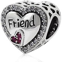 soulbead amistad amigo colgante de corazón con circonita 925plata de ley Bead Fit 3mm Europea pulsera joyas