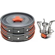 Kit de camping utensilios de cocina con mini estufa de camping - Kit ODOLAND Cookware que acampa Kit Mejor 1-2 Persona de efecto panorámico para hacer excursionismo al aire libre Senderismo Gear & Equipos de Cocina (Kit)