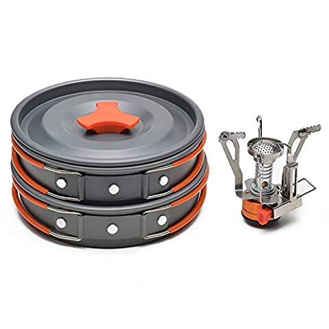 ODOLAND Camping Cookware Kit with Mini Camping Stove - ODOLAND Camping Cookware Kit Best 1-2 Person Pot Pan Kit for Outdoor Backpacking Gear & Hiking Cooking