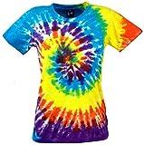 Guru-Shop Batik T-Shirt, Tie Dye Goa Shirt Regenbogen, Damen, Gelb/Blau, Baumwolle, Size:S (36), Tops, T-Shirts, Shirts Alternative Bekleidung