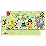 schöne Einladungskarten mit Briefumschlag bunte Tiere grün