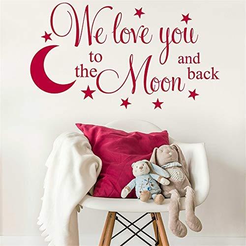 Wir Lieben Dich Bis Zum Mond Und Zurück Mit Hängenden Planeten Rocket Design Wandkunst Aufkleber Kinderzimmer Kinderzimmer Aufkleber 58X32Cm (Wir Lieben Dich Bis Zum Mond Und Zurück)