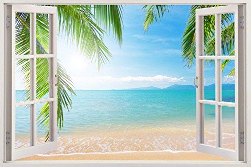 3D-Wandbild Geöffnetes Fenster - großformatig aus hochwertigem Vinyl - wiederverwendbar - Wandaufkleber - Hochwertige Aufkleber - Wandtattoo Fenster - 3D Fototapete Strand und Meer 85 x 115 cm (Fenster Aufkleber Palmen)