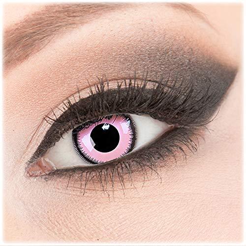 Farbige rosa Crazy Fun Kontaktlinsen 1 Paar 'Pink Lunatic' mit Behälter - Topqualität von 'Evil Lens' zu Fasching Karneval Halloween ohne Stärke