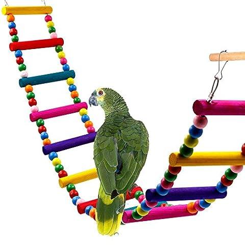 Jouet d'oiseau d'escalier coloré, Rusee Échelles flexibles de 12 étapes Équilibre en bois de pont d'arc-en-ciel pour des perroquets Pet Trainning