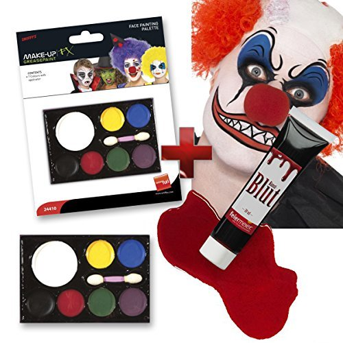 Halloween Makeup Set: 7 Schminkfarben + 30ml Kunstblut Blut -- Clown Vampir Zombie Kinder Schminken Grusel Party Fasching Karneval Schminkset
