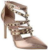 Mujer Tacón Alto Con Tachuelas en punta Tiras Tira en Tobillo Zapatos de salón Sandalias Talla - ORO ROSA ARRUGADO, 19 EU
