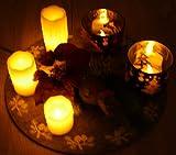 LED Kerzen Set, 7 teilig, flammenlose LED Kerzen aus Echtwachs (3x Echtwachskerzen flackernd & 2x LED Teelichter flackernd und 2x Teelichtglas) ***** ohne Deko *****