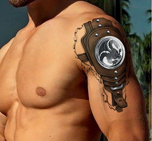 TATTOO ID XXL GUERRIER 3D GAMES tatouage ephemere temporaire hypoallergénique Fabriqué en FRANCE 1 planches 22cm x 14,5cm Homme Femme