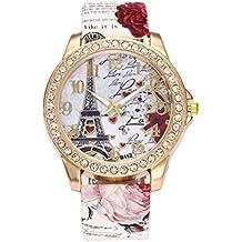 Logobeing Reloj de Pulsera de Cuarzo Cuero Vintage Paris Torre Eiffel Reloj de Mujer Barato de Moda (Blanco)