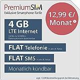 PremiumSIM LTE M Allnet Flat - monatlich kündbar (FLAT Internet 4 GB LTE mit max. 50 MBit/s mit deaktiverbarer Datenautomatik, FLAT Telefonie, FLAT SMS und FLAT EU-Ausland, 12,99 Euro/Monat)
