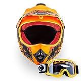 """ARMOR · AKC-49 Set """"Limited Orange"""" (Orange) · Kinder-Cross Helm · Moto-Cross Off-Road Motorrad Sport Enduro Kinder · DOT certified · Click-n-Secure™ Clip · Tragetasche · XS–XL (51-60cm) (XS (51-52cm), Limited Orange)"""