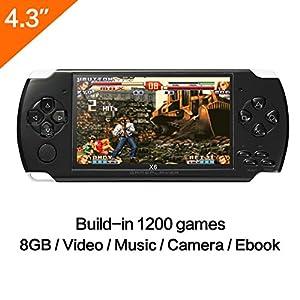 Spielkonsole, 10,9cm (4,3 Zoll) Display, 8GB, über 1200 echte Spiele ohne Wiederholung, unterstützte Spiele Arcade und andere 9 Simulatoren, mit MP3/MP5,Kamera-Funktion