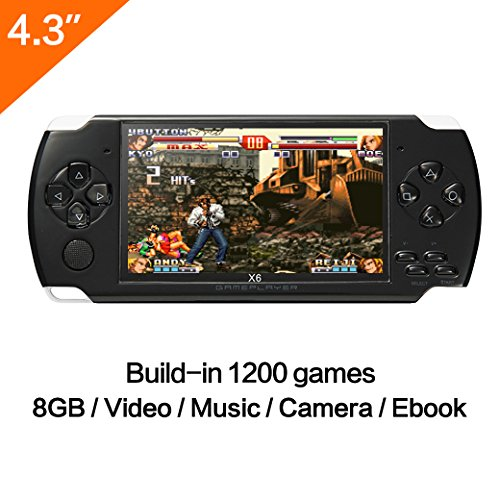 4.3 inch 8GB Handheld Game Console With Mp4 Mp5 Function Tablet Video Game Console Built In 1200+ real no-repeat games Support GBA/GBC /GB/SFC/FC/SEGA/SMC Games (GM01046BlackUK)