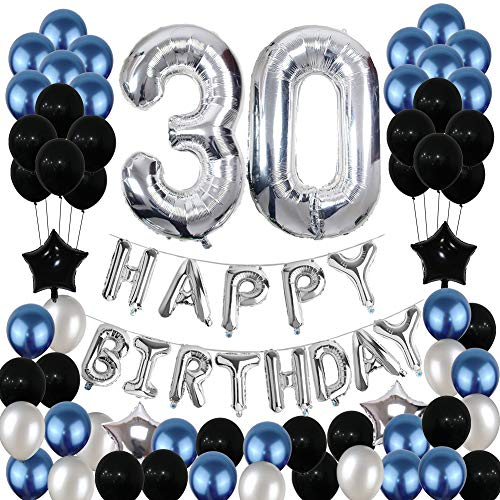 30th Birthday Decorations Blue, Silver and Black Birthday Party Balloons Set